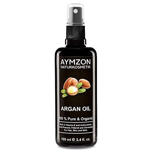 AYMZON - Arganöl 100 ml Bio-zertifiziert für natürliche Pflege der Haare, Haut, Gesicht und Nägel - Kaltgepresst - in Lichtschutz Glas-Flasche - Anti-Aging - Feuchtigkeitspflege