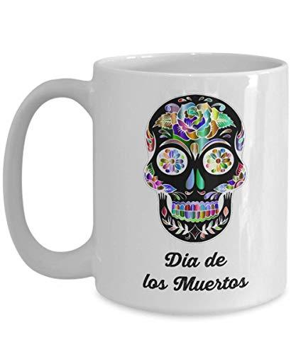 N\A Dia de los Muertos Taza de café azucar Calavera Mexicana, Dia de los Muertos Tazas de cerámica con Calavera de azúcar Regalos de calaveritas, Esqueleto Decorativo de Halloween
