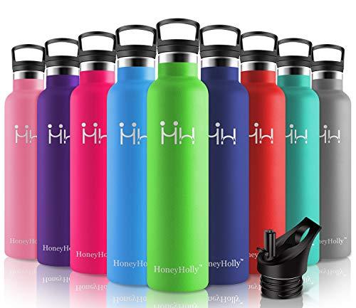 HoneyHolly Botella de Agua Acero Inoxidable sin BPA 1000ml/Verde, Aislamiento de Vacío de Doble Pared, Botellas Frío/Caliente, Reutilizable para Niños, Colegio, Sport, Gimnasio, Bicicleta