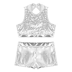 Cutout Back Silver 2-Piece Active Sequin Top and Booty Short