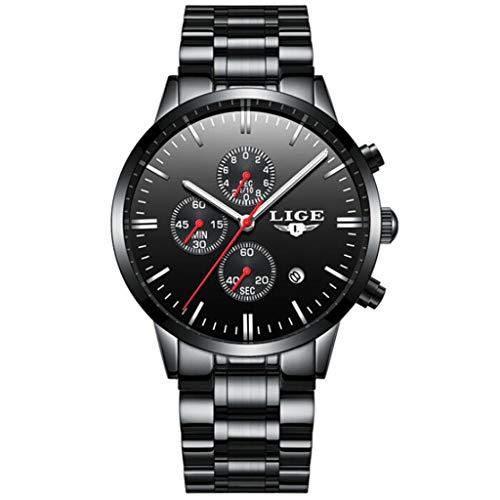 ChallengE Herren Uhren Mode wasserdichte Chronograph Quarz Uhr für Chronograph Business Quarzuhr Datumskalender Wasserdichtes Armband aus Mesh