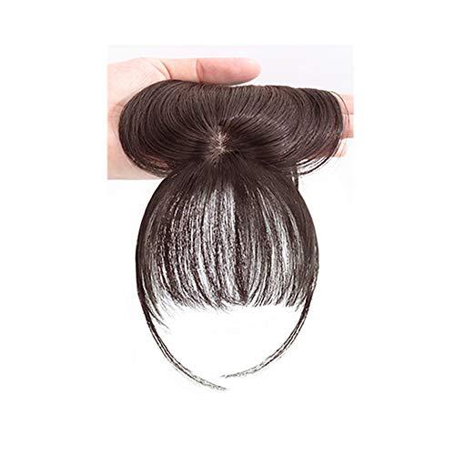 Mayplus Clip in Bangs - 3D Air Bangs, Human Hair Front Fringe Top Air Bangs Hair Extensions Bang Hair Clips for Women, Fake Bangs(brown)