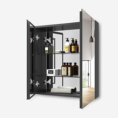 EMKE spiegelschrank Bad Badezimmer Spiegelschränke 60x14,5x65(BxTxH) cm, Badschrank mit Doppelseitiger Spiegel(Deep Space grau)