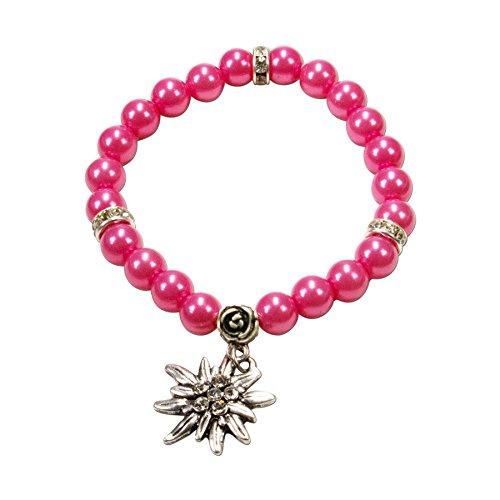 Alpenflüstern Perlen-Trachten-Armband Fiona mit Strass-Edelweiß - Damen-Trachtenschmuck, Elastische Trachten-Armkette, Perlenarmband...