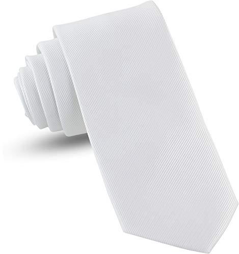 "Handmade White Ties For Men Skinny Woven Slim Tie Mens Ties : Thin Necktie, Solid Color Neckties 3"""