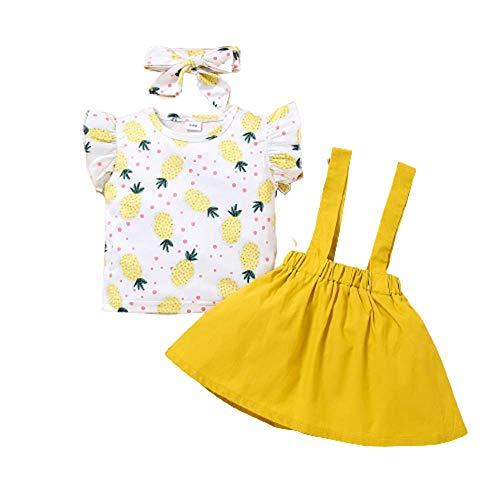 Bonfor 3 Piezas Ropa Bebe Niña Verano 1 año - 3 años Conjuntos Algodon 9-24 Meses, Camiseta de Floral + Falda de Tirantes + Banda de Pelo (Amarillo, 12-18 Meses)