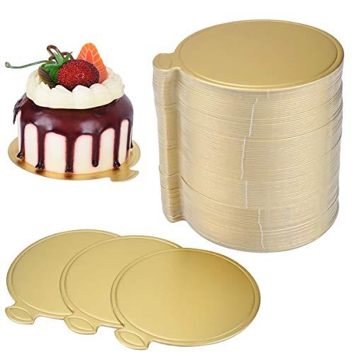 HQdeal 100 STÜCKE Mousse Kuchen Bretter,Gold Kuchen Papier Cupcake Dessert Geformt Display Tablett Hochzeit Geburtstag Gebäck Dekoration Tool Kit(Round)