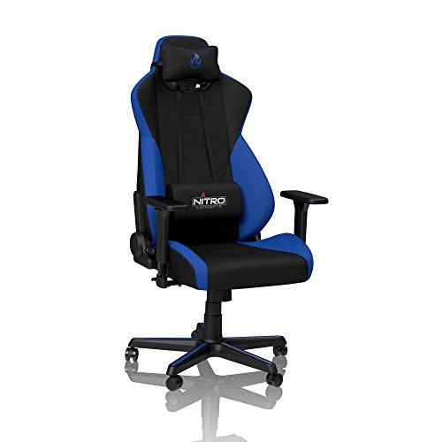 NITRO CONCEPTS S300 Gamingstuhl - Ergonomischer Bürostuhl Schreibtischstuhl Chefsessel Bürostuhl Pc Stuhl Gaming Sessel Stoffbezug Belastbarkeit 135 Kilogramm - Galactic Blue (Blau)