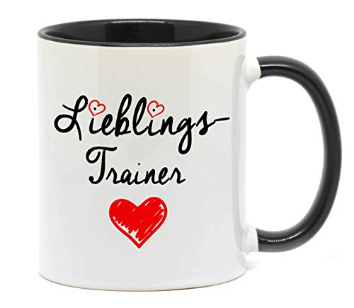 Nice-Presents Lieblingstrainer Hochwertige Tasse für den zuverlässigen Trainer in Beruf, Schule oder Sport in top Qualität, beidseitig Bedruckt. EIN Dankeschön als tolles Geschenk.