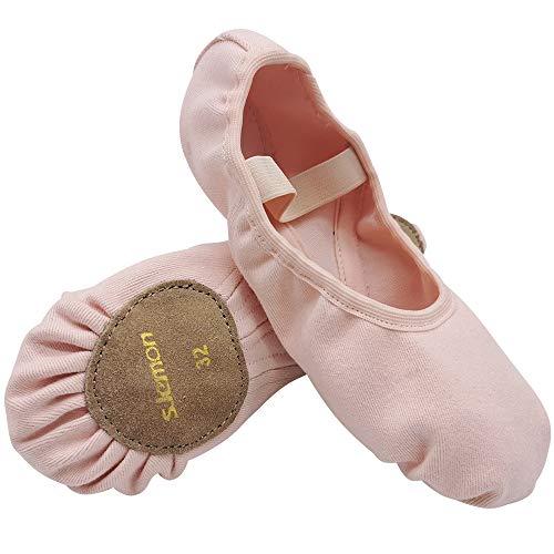 S.Lemon Scarpe da Balletto Classiche in Tela Alta Elasticizzata Suola Divisa per Bambina (34 EU)