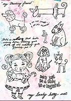 DIYスクラップブッキングフォトアルバム用の犬の女の子の透明なクリアシリコンスタンプシール装飾的なクリアスタンプM1365