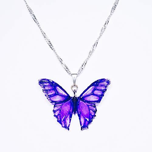 Collar Dije Gótico Mariposa Morada Handmade