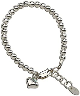 Baby or Children's Sterling Silver Bracelet with Puff Heart Charm for Girls