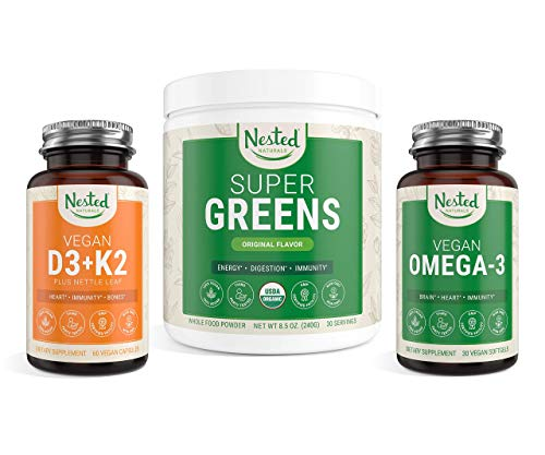 Nested Naturals Immunity Bundle   Super Greens + Vitamin D3+K2 + Vegan Omega-3   Boosts Immunity & Supports Healthy Immune Function   Non-GMO Vegan Supplements to Support Health & Wellness
