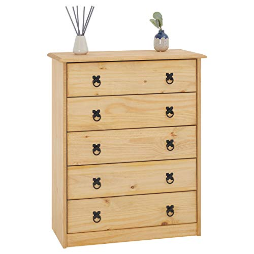 CARO-Möbel Kommode Barrio mit 5 Schubladen I Sideboard aus massiver Kiefer I gebeizter und gewachster Schubladenschrank I Anrichte im Mexiko Stil