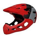 ANYY Cascos para hombre, bicicleta de montaña, carretera y campo de equitación de motocicleta, cascos de cara completa, deportes extremos de seguridad (rojo)