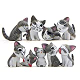 9 Pcs Cat Figurines, Chi s Sweet Home Cat Animal Collection Toy for Miniature Fairy Garden, Cake Topper Decoration (Gray)