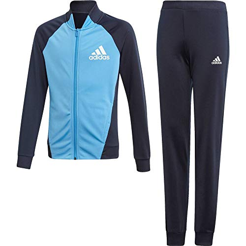 adidas Kinder YG PES TS Sportanzug, Top:Legend Ink/Lucky Blue/White Bottom:Legend Ink F17/Lucky Blue S15/White, 1314