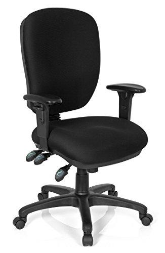hjh OFFICE 702290 Profi Bürostuhl ZENIT HIGH BIG Stoff Schwarz Drehstuhl Bürosessel Rückenlehne & Armlehnen verstellbar, dicke Polsterung