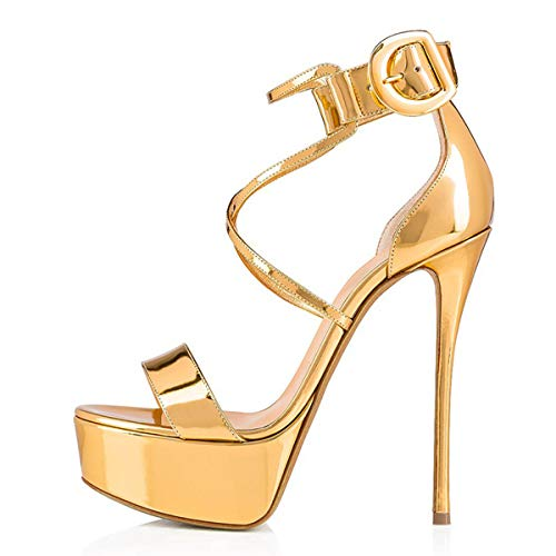 Onlymaker Frauen Sandaletten Open Toe Plateau Glitzer Metallic Riemchensandalen Schnalle Stiletto High Heels Gold 42 EU