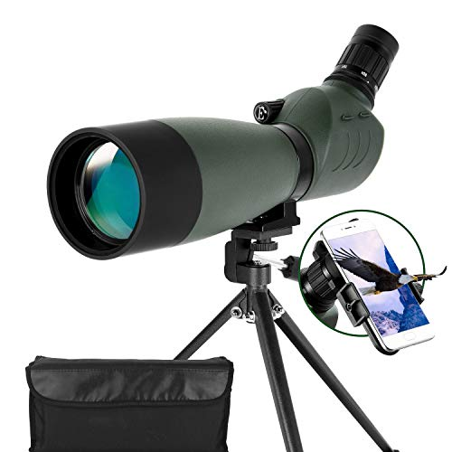 ESSLNB Spotting Scope with Tripod Phone Adapter 25-75 X 70 BAK4 Monocular Telescope 45 Degree Angled Waterproof Compact Spotting Scopes for Target Shooting Hunting Bird Watching