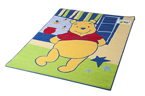 Lancashire Textiles Disney Tapis éducatif Motif Winnie l'ourson Vert Printemps 95 x 133 cm
