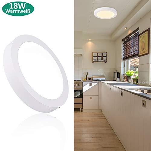 Deckenleuchte Rund 18W LED Panels Deckenlampe 3000K Warmweiß für Wohnzimmer, Schlafzimmer, Kinderzimmer, Küche, Flur, Keller (Nicht Dimmbar)
