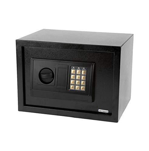 Small Size Electronic Digital Steel Safe Strongbox Black Security Safe Boxes Lock Home Office Hotel Business Jewelry Gun Cash Use Storage Money, Tool Box