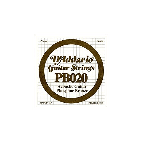 D'Addario PB020 Phosphor Bronze Einzelsaite für Gitarren 0,05 cm (0,020 Zoll)