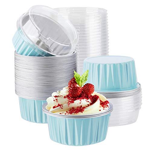 Aluminum Cups with Lids, Eusoar 50pcs 5oz 125ml Aluminum Foil Muffin Liners Cups with Lids, Aluminum Cupcake liners, Disposable Foil Ramekins Pans, Cupcake Baking Cups, Aluminum Foil Cupcake Holders