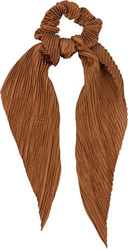 styleBREAKER Damen Haargummi plissiert mit Schleife im Retro Style, elastisch, Scrunchie, Zopfgummi, Haarband 04027014, Farbe:Cognac