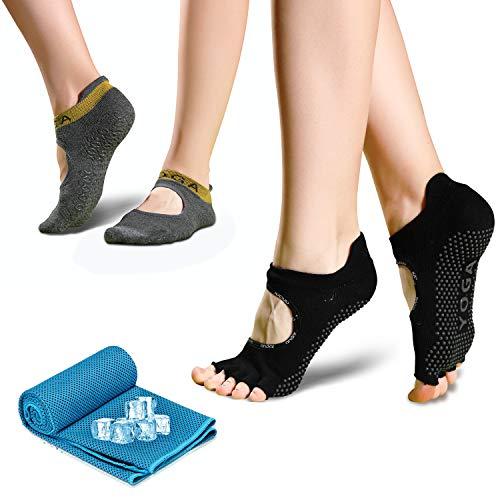 Yoga Socken für Damen, rutschfeste Sportsocken Pilates Socken (2 Paar) mit 1 kühlendes Handtuch schweißabsorbierend für Barre, Ballett, Tanz und Fitness Sport, 35-41 (Grau und Schwarz)
