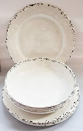 Tommy Bahama Rustic Crackle Melamine Dinner Plates & Salad Bowls Kitchen Dinnerware Set of Four Each