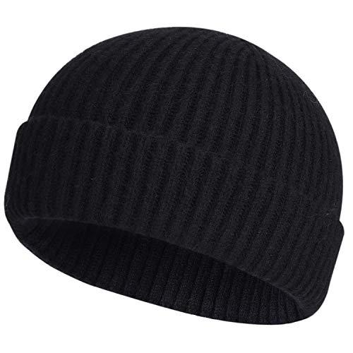 ROYBENS Swag Wool Knit Cuff Short Fisherman Beanie for Men Women, Winter Warm Hats, Black