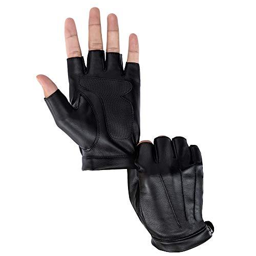 Driving Gloves Men Fingerless Leather Gloves Thin Half Finger Black Glove (PU/with mat L)