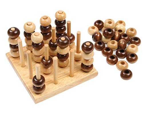 Vier in Einer Reihe - 3D, Holzspiel, mit 1 Spielbrett und 64 Spielperlen, Kinder, Holz-Spiel, Kindergarten - Kinderspiel Spiel Brettspiel Holzbrettspiel Spielen Spielzeug Holzspielzeug