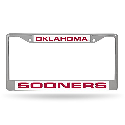 NCAA Oklahoma Sooners - White Insert Laser Cut Inlaid Standard Chrome License Plate Frame
