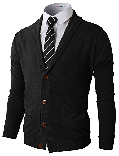 H2H Mens Slim Fit Casual V-Neck Knit Cardigan Sweater with Ribbing Edge Black US L/Asia XL (CMOCAL07)