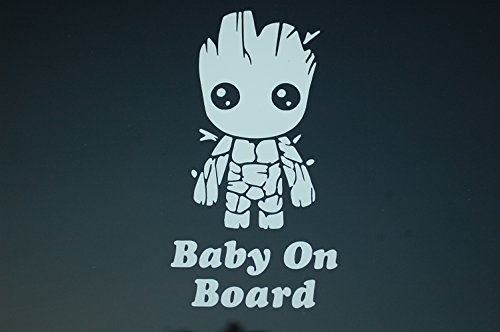 Five STAR SUPPLY Baby On Board Baby Groot Sticker Vinyl Decal Choose Color!! Car Window (V521) (White)