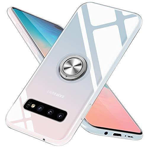 Galaxy S10 Plus Hülle Silikon TPU Slim Hülle mit 360 Grad Ring Ständer Bumper Handyhülle Fingerhalter Magnetische Autohalterung Anti-Fingerabdruck Transparent Schutzhülle Cover für 6.4 Zoll,Clear