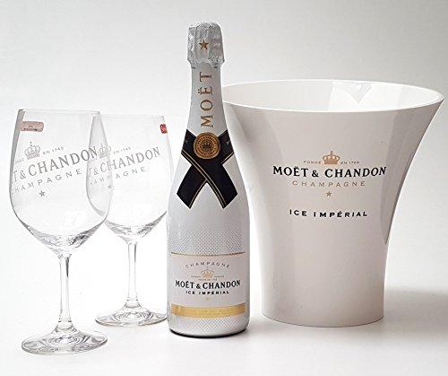 Moet & Chandon Ice Imperial Set - Champagner 75cl (12{4c31a201fc0e891dffedcdbe446bb199d54f27a4895b1d4f213e743bcaaabd9b} Vol) + Flaschenkühler + 2x Gläser