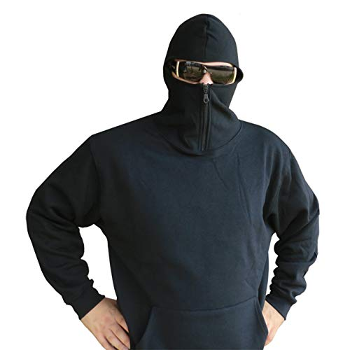 CI Ninja Hoodie Sweatshirt mit Kapuze Einsatzpullover SWAT Kapuzenpulli mit Sturmhaube Schwarz Größe S-XXL (XL)