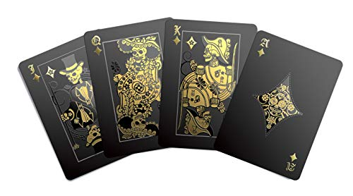 Gent Supply Black Waterproof Playing Cards - Day of The Dead, Gold Silver & Black Edition