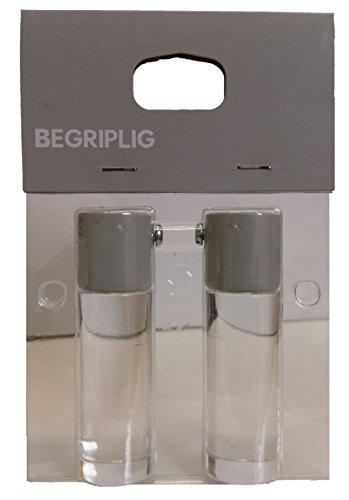 Ikea BEGRIPLIG Endstücke für Gardinenstangen universal transparent, Acryl/Metall