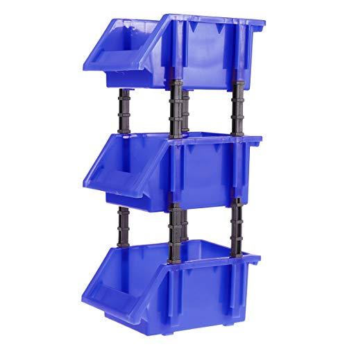 Yardwe Estantería de Plástico con Cajones Apilable para Organizador de Herramientas Juguete Bricolaje 3pcs 150x110x74mm (Azul)