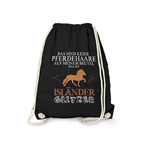 Fashionalarm Turnbeutel - Das sind Keine Pferdehaare - Isländer Glitzer | Fun Rucksack Spruch als lustige Geschenk Idee | Pferd Reiten Reitsport, Farbe:schwarz