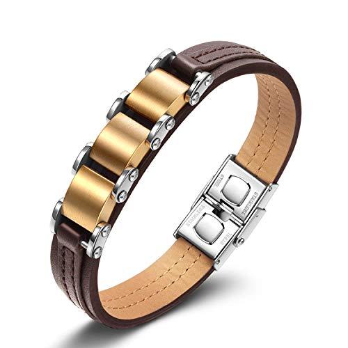 Notting Hill Brilliant Series Herren Armreif Armband Leder Handgelenk Armbänder Herren Geschenke Titan Titan Stahl Armband mit Geschenkbox, Golden und Braun