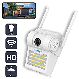 Hision Security Camera Outdoor, 1080P Waterproof WiFi CCTV Camera with LED Wall Lights, Wireless Security Floodlight Camera with Night Vision, Remote Viewing and Motion Detection