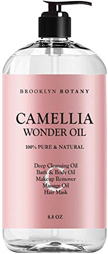 Brooklyn Botany Camellia Wonder Oil - 100% Pure & Natural - Deep Cleansing Oil, Bath & Body Oil, Makeup Remover, Massage Oil, Hair Mask - Ultra Lightweight 8.8 oz
