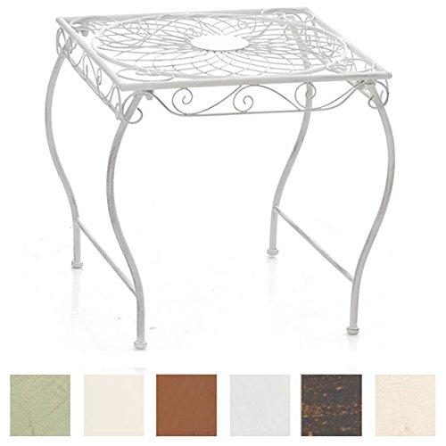 CLP Eisentisch Zarina Design I Robuster Gartentisch mit kunstvollen Verzierungen Antik Weiß